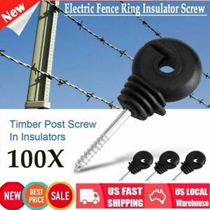 100pc Black Timber Post Screw In Insulatorsscrew For Electric Fencing Poly Wire