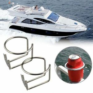 2x Stainless Steel Boat Ring Cup Drink Holder For Boat Yacht Marine Camper Truck