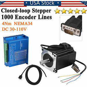 Hss86h Closed Loop Stepper Encoder Motor Nema34 4nm Hybrid Servo Driver Kits New