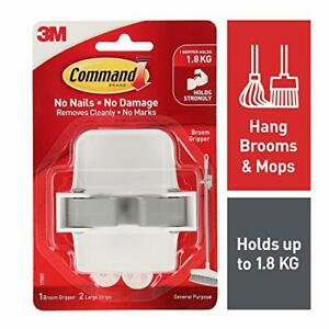 Command Broom Holder Wall Mount White Easy On Easy Off 1 Gripper