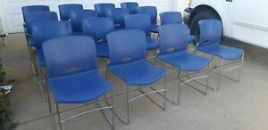 Hon Olson Lot Of 16 Blue Modern Contemporary Stacking Chairs Meeting Classroom