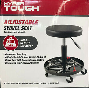 Adjustable Swivel Rolling Seat Stool Chair W Tool Tray For Garage Shop
