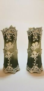 Pair Of Antique French Porcelain Raised Relief Vases Vintage Green W Cherubs