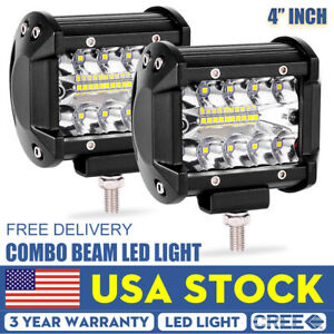 Pair 4 Inch 60w Cree Led Work Light Bar Pods Flood Spot Combo Driving Lamp Suv