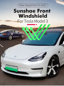For Tesla Model 3 Car Sun Shades Windshield Sunshade Shade Front Cover Anti Uv