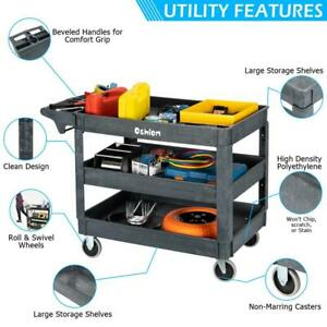 3 Shelf Heavy Duty Utility Cart With Wheels For Tools Workshop Hotel