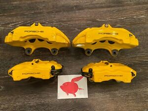 Porsche Cayenne 18z Front Rear Brake Calipers Right Left Yellow Brembo Set Oem