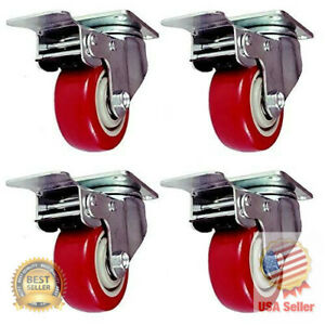 3 inch Caster Wheels Swivel Plate Stem Brake Casters With Total Lock Red 4 Pack