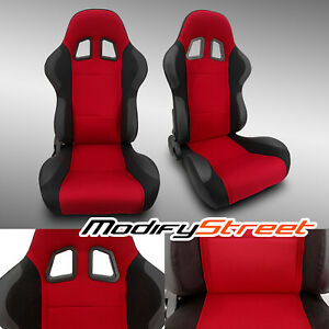 2 X Red Pineapple Fabric Pvc Leather Left Right Racing Bucket Seats Slider