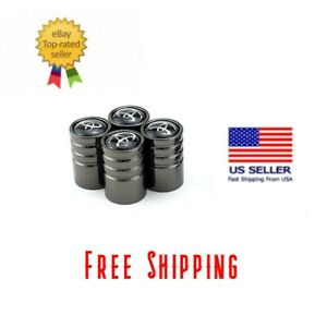 Black Chrome Car Wheel Tire Air Valve Caps Stem Cover Toyota Emblem 4pcs Usa