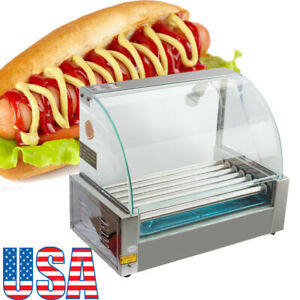Pro Commercial 18 Hot Dog Hotdog 7 Roller Grill Cooker Machine W Cover Fda Ce