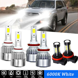 6x Cob 9005 H11 Led Headlight Fog Bulbs 6000k For Toyota 4runner 2007 2019