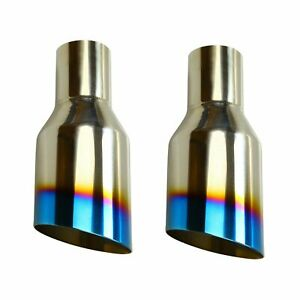 2x 2 5 In 4 Out Blue Burnt Exhaust Single Layer Slant Tip Polished Stainless
