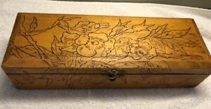 Antique Victorian Flemish Art Co Pyrography Wood Glove Vanity Box