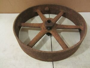Vtg Antique Cast Iron 17 Flat Belt Pulley Line Shaft Gas Hit Miss Engine 4 Drive
