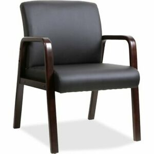 Lorell Black Leather Wood Frame Guest Chair Espresso Frame Each l