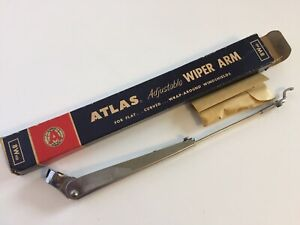 Vintage Atlas Adjustable Wiper Arm 8whd Heavy Duty Flat Curved Wrap Around Nos