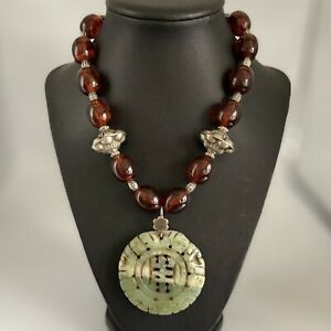 Antique Jade Bakelite Amber Chinese Silver Necklace