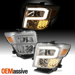 For 2016 2019 Nissan Titan Projector Led Light Bar Headlights Chorme Assembly