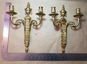 Pair Of 2 Antique Ornate Thick Gilt Brass Candle Holder Wall Sconces Fixtures