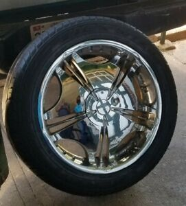 22 Inch Silver Wheels With Good Tires Set Of Four Used