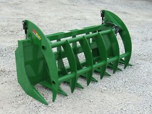 72 Root Rake Clam Grapple Brush Attachment Fits John Deere Tractor Loader