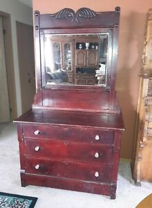 Large Vintage Art Deco Beech Wood Mahogany Stain Bedroom Vanity Dresser