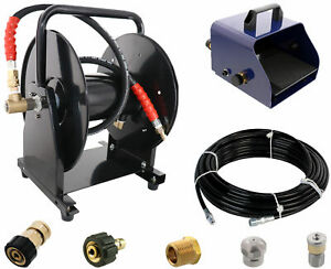 Scheiffer Sewer Jetter Kit Foot Pedal Hose Reel 1 8 X 100 Hose And Nozzles