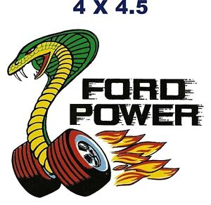 Vintage Ford Power Cobra Race Flames Laminated Vinyl Decal