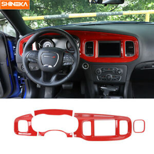 Center Console Dashboard Panel Decor Cover Trim For Dodge Charger 2015 2020 Red