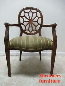 Ethan Allen Upholstered Spider Back Arm Accent Chair B