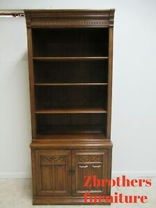 Ethan Allen Bookcase Book Shelf Hutch Display Charter Oak Jacobean B