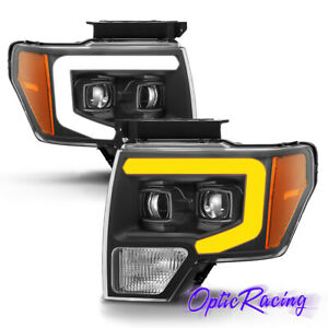 For 2009 2014 Ford F150 Black Sequential Led Drl Projector Headlights Left Right