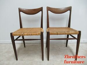 Pair Vintage Scoop Back Cane Seat Dining Chairs Danish Modern Norway