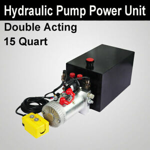 Hydraulic Pump 15 Quart Double Acting Dump Trailer Power Pack Remote 12vdc