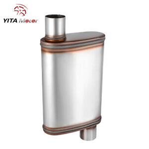 Yitamotor Offset 2 5 Inlet outlet Race Muffler Stainless 2 Chambers Resonator