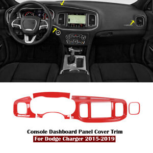 Red Interior Front Console Dashboard Panel Cover Trim For Dodge Charger 2015 19