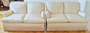 Pair Fine Late 20th C Antique White Upholstered Loveseat Two Seat Sofa Couch