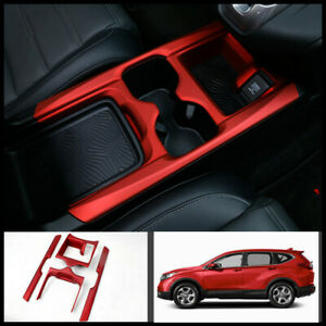 For Honda Crv Cr v 2017 2020 Abs Red Central Console Water Cup Cover Trim 4pcs