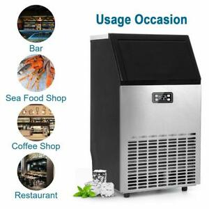 100lbs day Built in Commercial Ice Maker Machine Stainless Steel Bar Restaurant