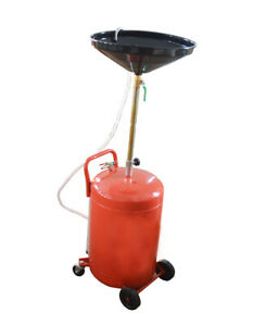 20 Gallon Portable Waste Oil Drain Tank Air Operated Pan Drainage Wheel Hose