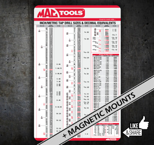 Mac Tools Handy Tap Drill Size Chart 036 Card Reference For Tool Box Chest