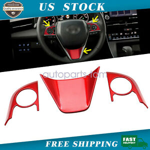 Abs Red Interior Steering Wheel Cover Trim 3pcs For Toyota Camry 2018 2019 2020