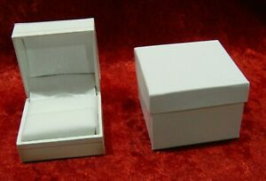 X36 White Leatherette Ring Presentation Display Gift Boxes W Outer Box New