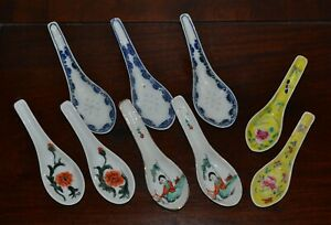 Group 9 Old Or Antique Chinese Porcelain Spoons Hand Painted