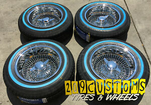4 Wheels 14 Wire Wheels 100 Spokes 14x7 Reverse Chrome Lowrider Rims With Tires