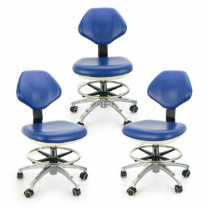 3x Dental Doctor Assistant Stool Adjustable Height Mobile Pu Leather Chair Blue