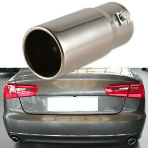 Car Chrome Stainless Steel Exhaust Tail Tips Universal Rear Silver Muffler Pipe