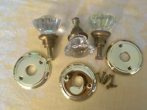 Vintage Glass Door Knobs Three Crystal Clear Twelve Point And Hardware