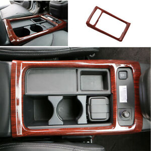 For Honda Cr v Crv 2012 2016 Red Wood Grain Central Console Water Cup Cover Trim